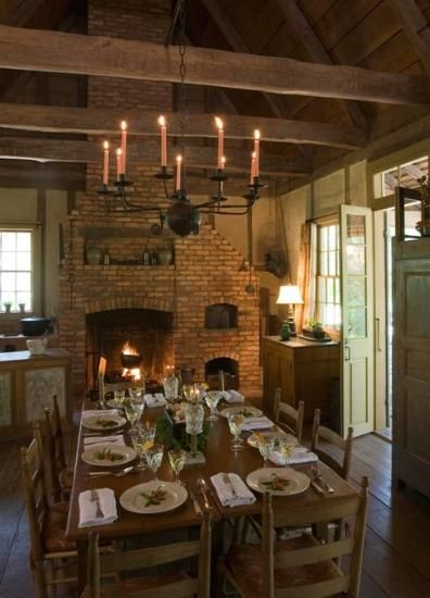 dining area in Madeleine Cenac's  meticulously restored 19th-century Creole cottage in Breaux Bridge, Louisiana, which also serves as a bed & breakfast, Maison Madeleine.