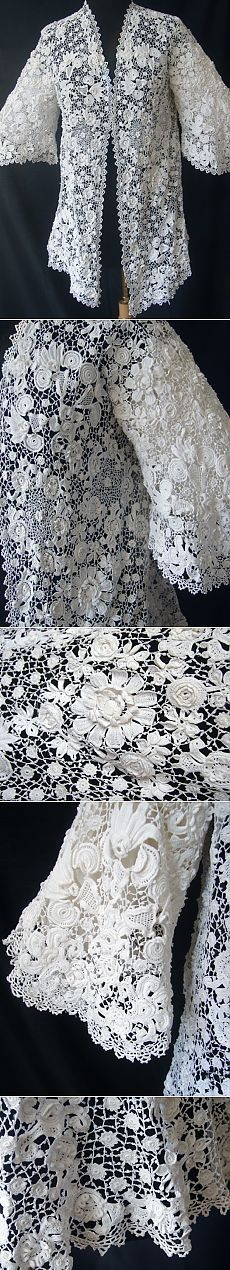 Maria Niforos - Fine Antique Lace, Linens & Textiles : Antique & Vintage Clothing # CL-33 Circa 1900, Graceful Irish Crochet Jacket