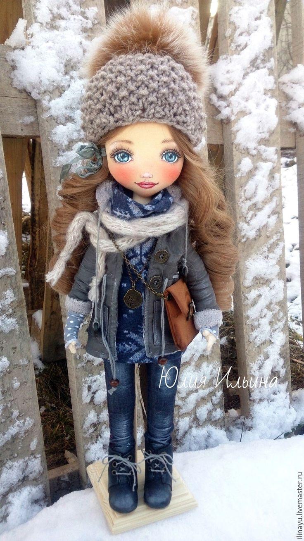 Купить Текстильная кукла. - серый, кукла ручной работы, текстильная кукла…