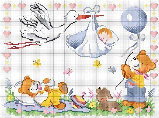 orsi cicogna e bambino... schemi punto croce