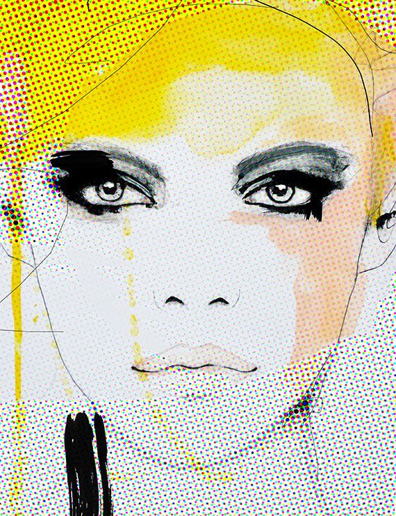 Ruse – Fashion Illustration Art Print, Woman, Portrait, Mix Media Painting by Leigh Viner
