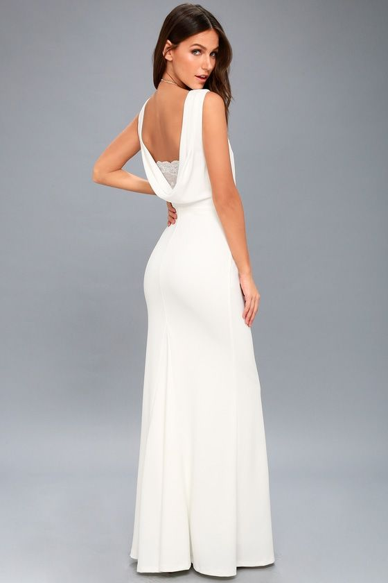 557f1b8b53 Let the Way to Your Heart White Backless Maxi Dress lead the way to a  lifetime of love! Medium-weight stretch knit falls from a high
