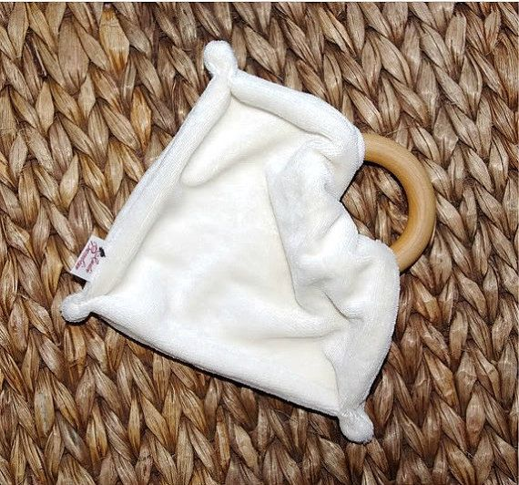 Organic Bambo Blanket Teether Personalize option by IndieBambinos, $10.95