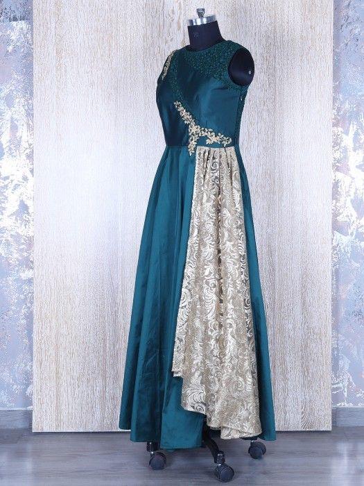 Dark Green Silk Designer Anarkali Suit