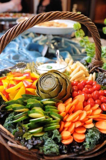 All sorts of vegetables served in a basket is a delicious sight.  See more vegetable appetizer and party ideas at one-stop-party-ideas.com