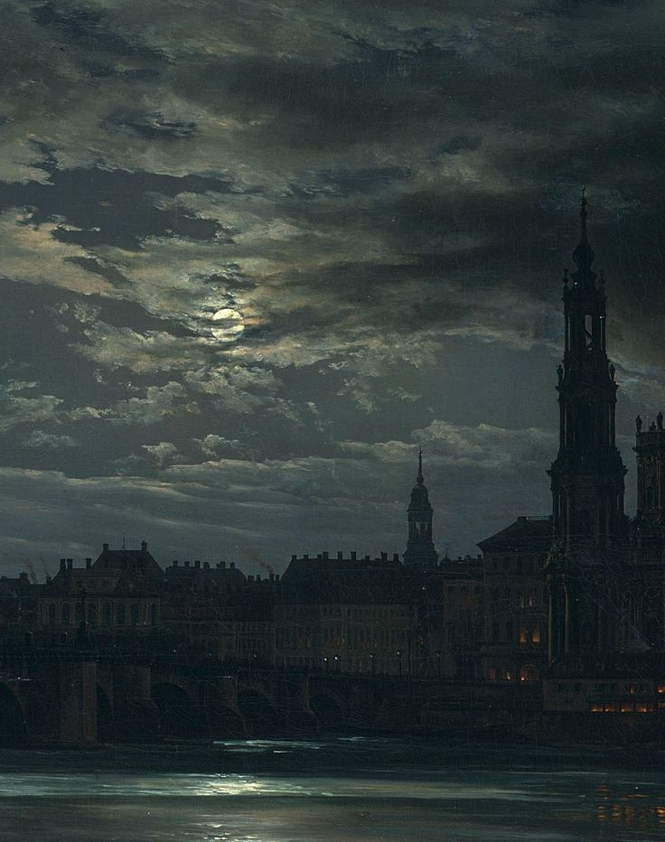 Johan Christian Dahl - View of Dresden by Moonlight (1839) Oil on canvas, detail shown