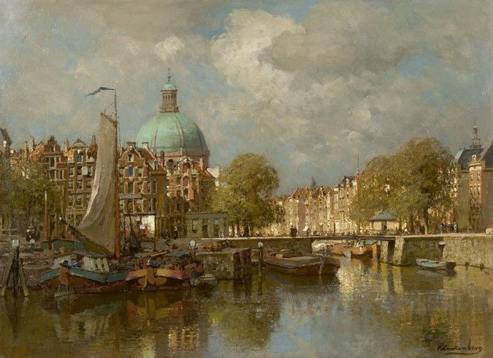 Johannes Christiaan Karel Klinkenberg (Den Haag 1852-1924) Het Singel te Amsterdam met de Ronde Lutherse Kerk - Kunsthandel Simonis en Buunk, Ede (Nederland).