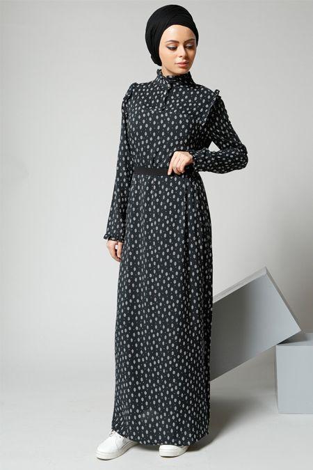 Refka Siyah Fırfır Detaylı Elbise 99.90 TL  http://alisveris.yesiltopuklar.com/refka-siyah-firfir-detayli-elbise.html
