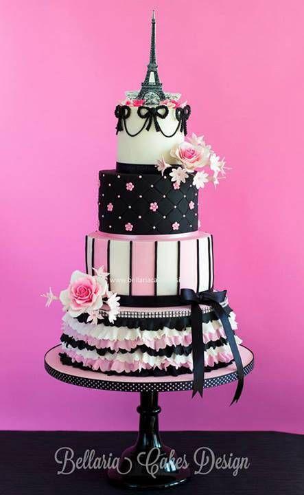 Multi-Tiered Pink & Black Paris Themed Cake                                                                                                                                                      More