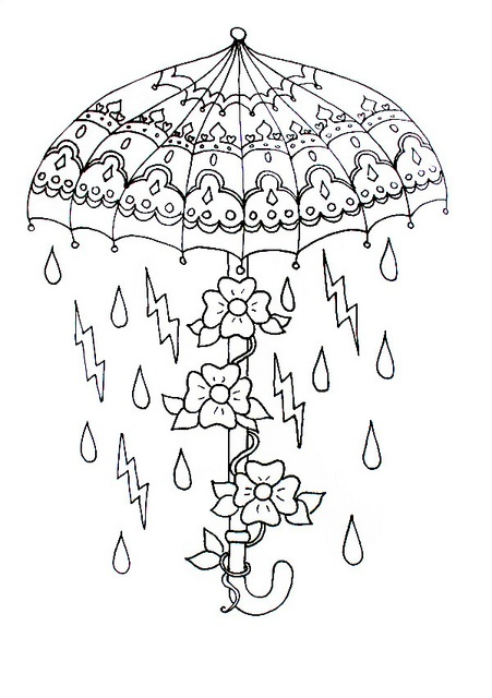 April Coloring Pages For Adults : Made by me need colour hand gun umbrella owl