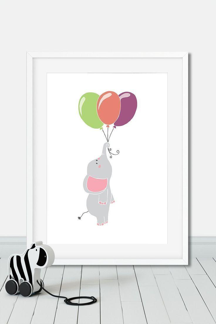 Affiche Elephant Ballons Poster Cirque Pour Chambre D Enfant
