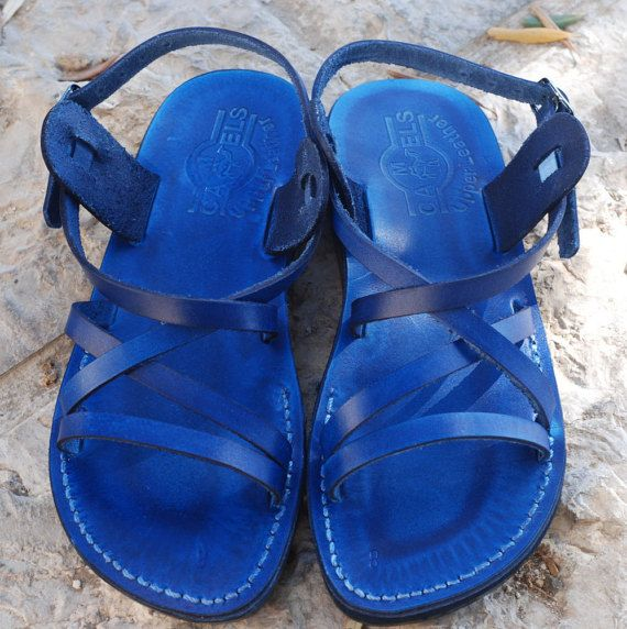 blue leather sandals for women blue sandals  strappy by Holysouq