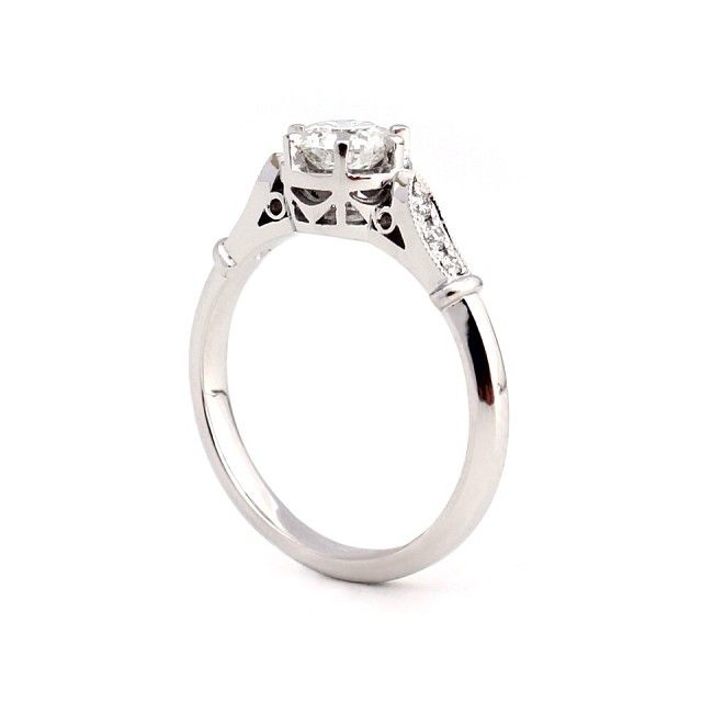 Kate McCoy engagement ring, vintage setting, contemporary design. Hand picked diamonds. 18kt white gold. Beauty!