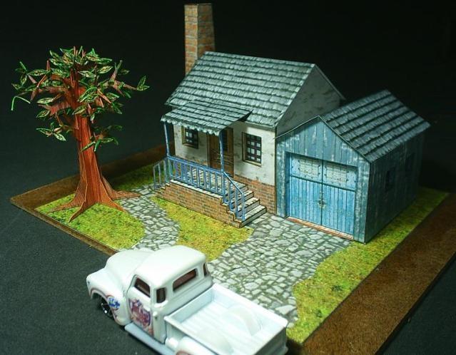 Free paper model diorama. download at Papermau!Models Dioramas, Free Paper, น าร กด Papermau, Papermau Blogspot Com, Paper House, Paper Crafts, Miniatures Dol House, House Plans, Paper Models