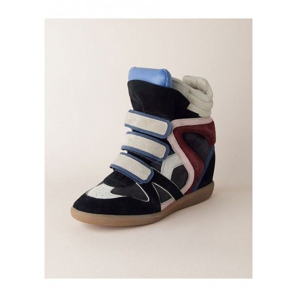 Isabel Marant Bekket Suede Wedge Sneakers Black White Blue Red
