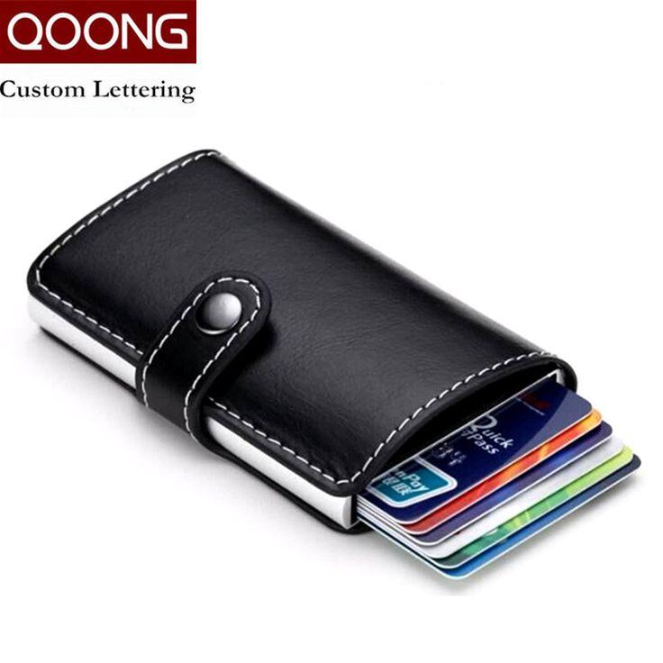 Qoong viaje tarjeta de bolsillo multi-función automática pop-up mujeres de los hombres de negocios de aluminio caja de tarjeta de cuero titular de la tarjeta de crédito 1-004