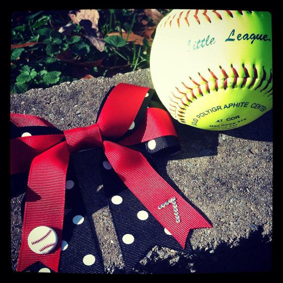 Softball Hair Bow with Personalized Number by whnNdoubtPUTaBOWonIT, $15.00