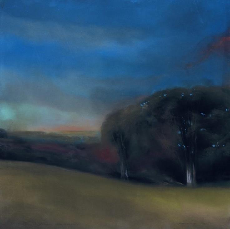 "Francesco Parisi, ""Notturno a villa Pamphili"", pastel on canvas, 2009, cm 60x60"