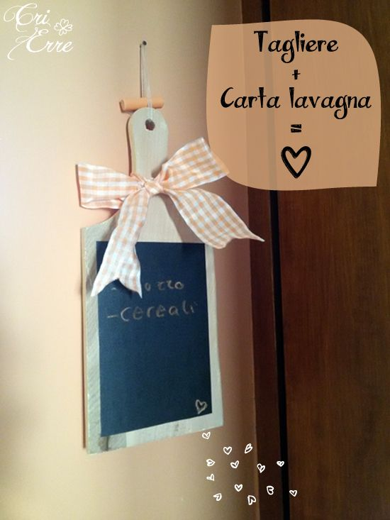 Lavagna con tagliere How to make a blackboard with a wood chopping board #tutorial #diy