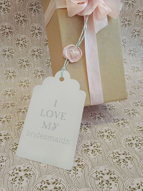 I Love My Bridesmaids Gift Tag with Wax Seal by WeddingsEtc  available on Etsy  www.weddingsetc.etsy.com
