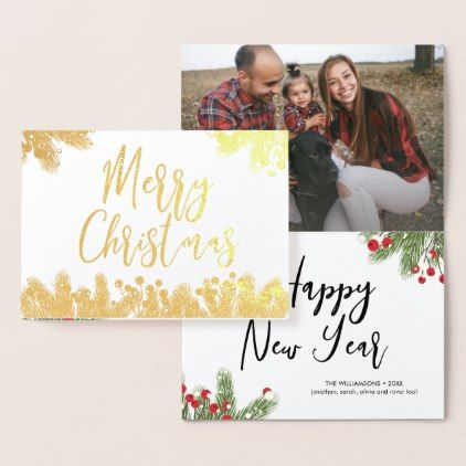 Merry Christmas Photo Script Pine Bough Berry Foil Card - Xmas ChristmasEve Christmas Eve Christmas merry xmas family kids gifts holidays Santa