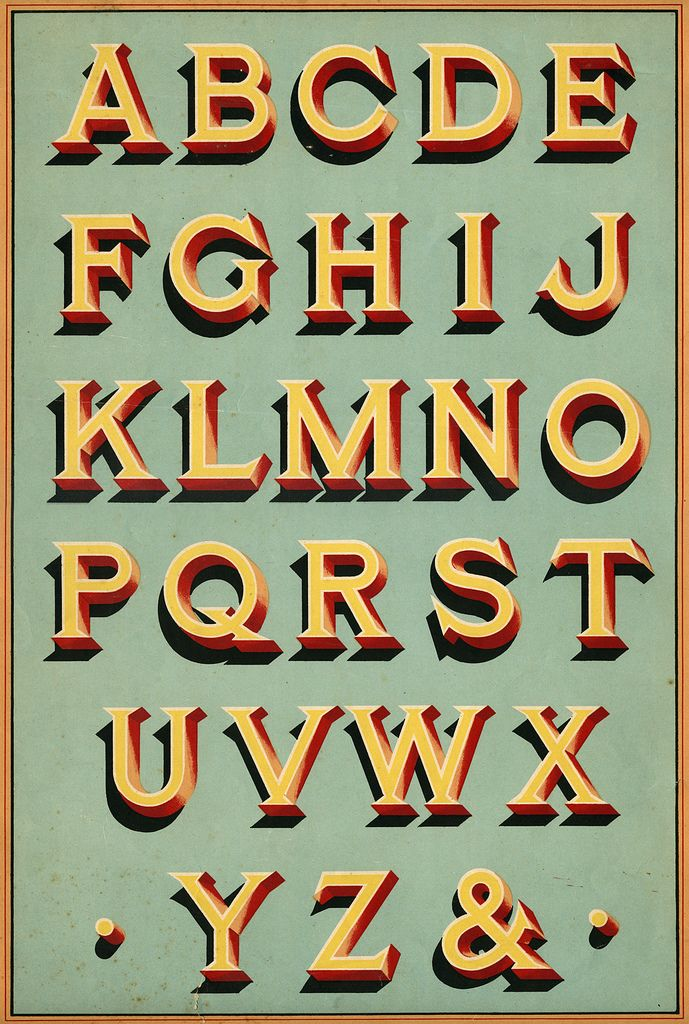 sign writing, lettering, type, alphabet, colour, vintage, shadow, traditional, typography