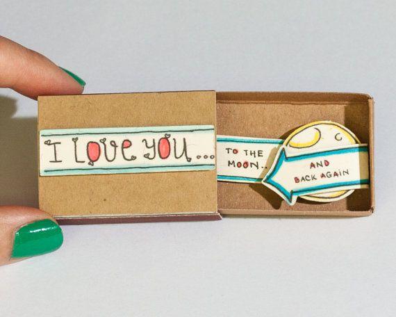 "Cute Love Card/ 3D Card/ Matchbox / Handmade pop up card/ ""I love you to the moon and back again"""