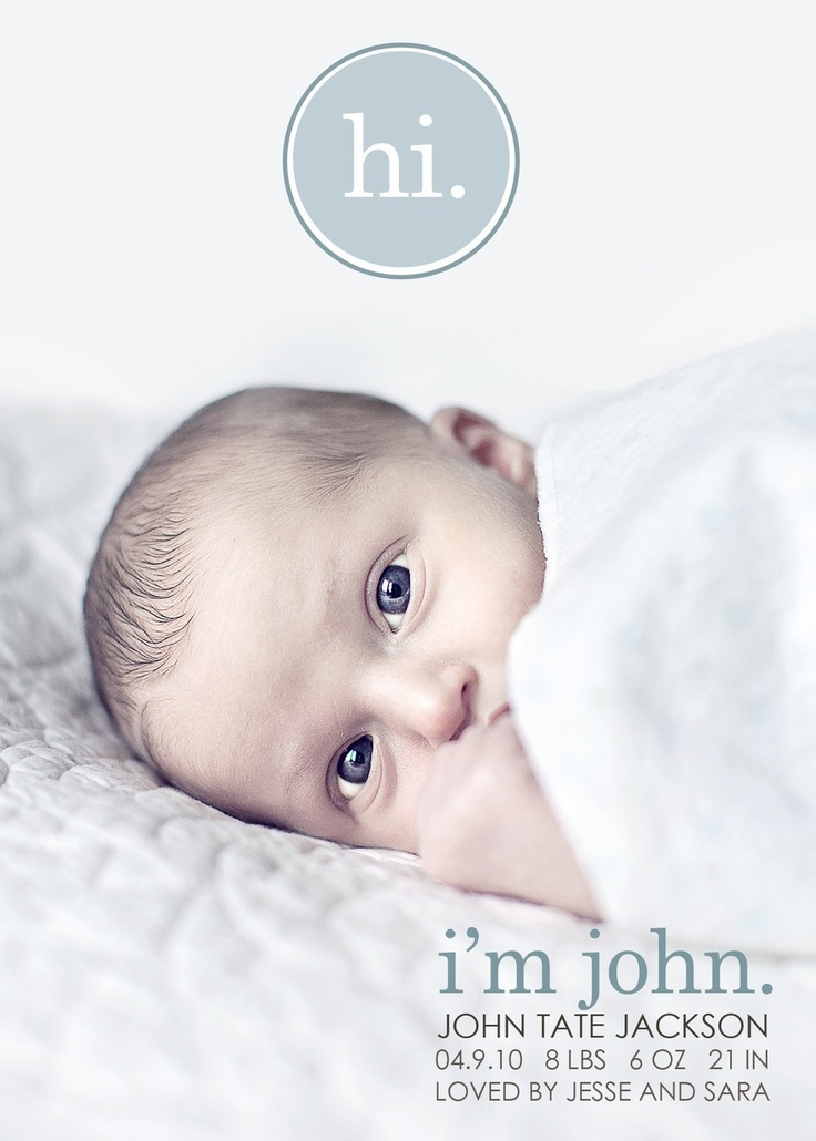 custom photo birth announcement - hi.. $15.00, via Etsy.