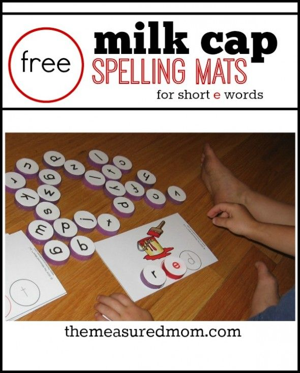 It's fun to spell with milk cap letters... get patterns for making the letters plus these free spelling mats.