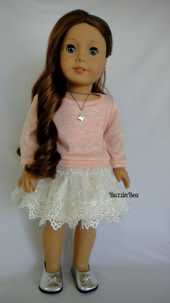 Peach Sweater & Cream Embroided Skirt & Heart Necklace  by BuzzinBea on Etsy      $30.00