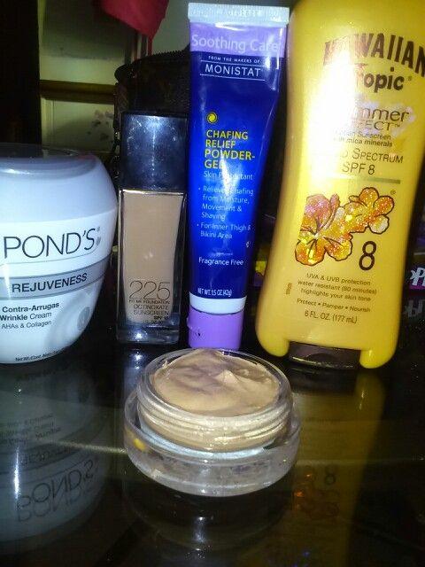 Diy bb cream 2parts foundation 2 parts moisturizer 1 part spf 1 part primer..i use monistat anti chafing powder gel