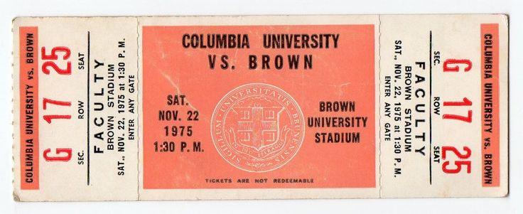 1975 Brown University VS Columbia University Unused Football Game Ticket    #BrownBears