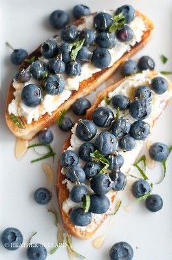 Blueberries, ricotta, honey toast