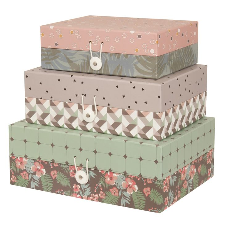 Storage Boxes – set of 3 – Conflict (Flat)Storage Boxes – set of 3 – Flat. This gorgeous set of 3 storage boxes in Conflict design comes in a floral, heart and geometric print, providing a versatile and contemporary storage solution. The beautiful colours and stylish pattern will complement any room in your home.