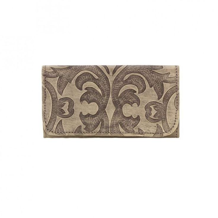 American West Baroque Trifold Wallet Sand The obvious match for the Baroque handbag with a vintage design in hand tooled leather $139.00