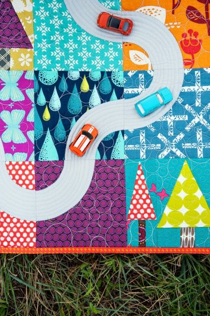 Make an i-spy quilt with a road!!!                                                                                                                                                     More