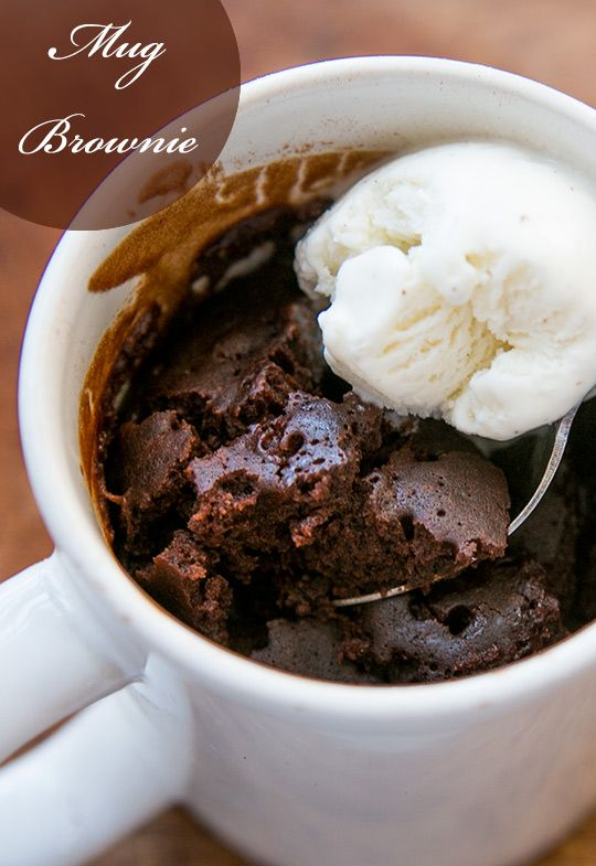 Easiest brownie ever, a single serving brownie microwaved in a mug. Served hot - perfect for topping with a little vanilla ice cream~ SimplyRecipes.com