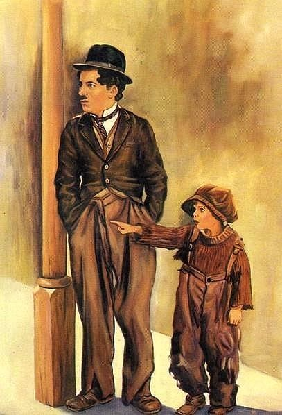 """Beautiful painting/drawing of Charlie Chaplin & Jackie Coogan from """"The Kid"""" - 1921"""
