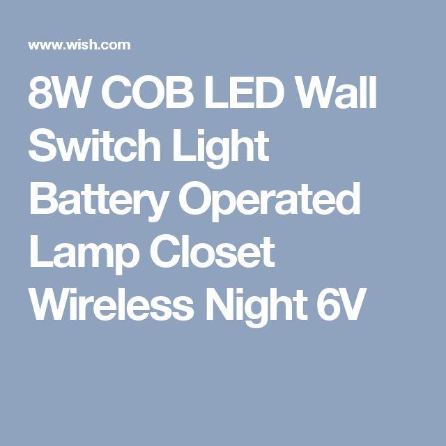 8W COB LED Wall Switch Light Battery Operated Lamp Closet Wireless Night 6V