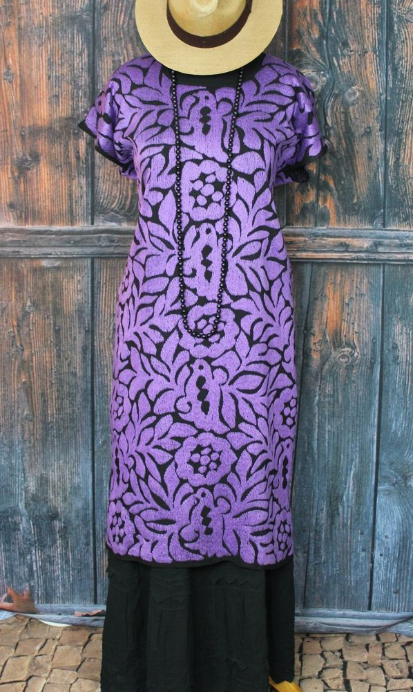 Purple & Black Hand Embroidered Huipil Dress Jalapa Oaxaca Mexico Frida Kahlo  #Handmade #MexicanDress