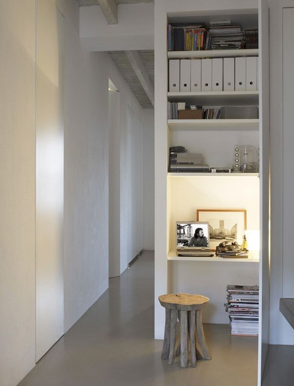 The small scale of this fun stool fits the closet-turned into office perfectly!