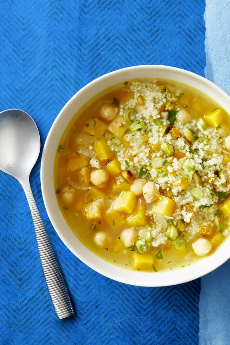 Butternut Squash and White Bean Soup -Substitute thyme and cilantro for other flavor enhancers.