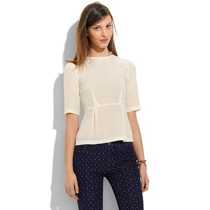 silk peplum top / madewell: Fall Wardrobes, Peplum Tops, Shops Lists, Fall 2012, Silk Peplum, Madewell Silk, Dreams Wardrobes, Pearls Ivory, Madewell Tops