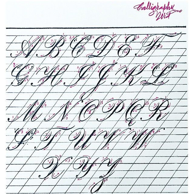 Sharing the #Copperplate #exemplar that I've made for last year's #CopperplateWorkshopPh. Some letters have 2 directional arrows -- red and black.. it just means that those letters can be drawn by either way.. Those are just 2 of the most common ways that I've observed. Hope this helps. Happy Friday, y'all! #calligraphynerdMD
