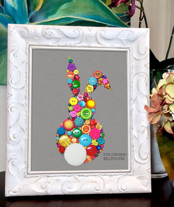 8x10 Button Art Swarovski Rhinestones Bunny Rabbit by BellePapiers #easterbunny #easter #buttonart #bunny #rabbits