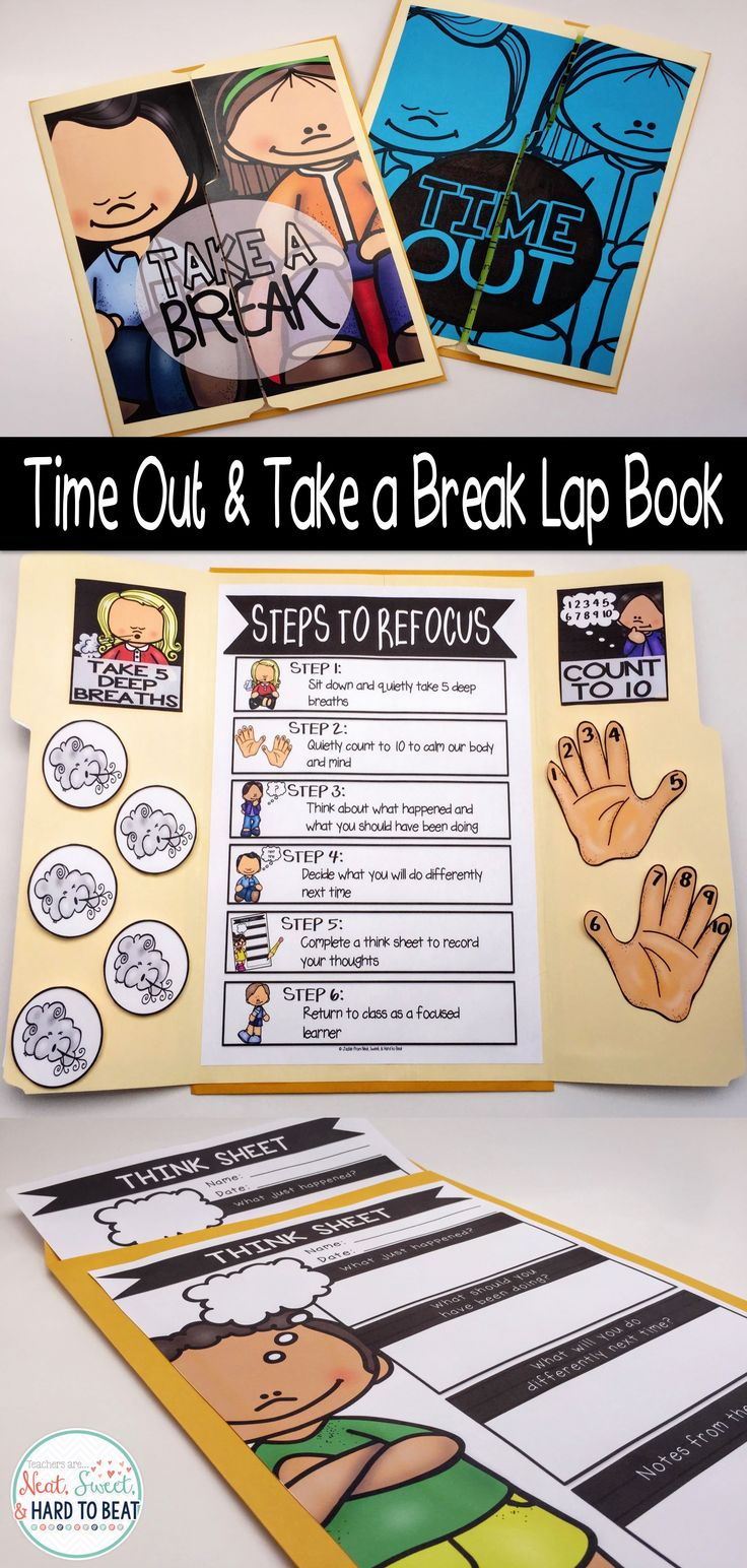 """Over 100 pages to set up a Time Out or Take a Break lap book. Includes a lesson, morning message to your students, and a letter to parents to help introduce the lap book. The lap book is great for students to take to specials or when pulled out by other specialty teachers to keep the consistency of your behavior management.  """"Time Out"""", """"Take a Break"""", """"Peace Place"""", """"Rest & Return"""" and """"Quiet Spot"""" covers are also included."""
