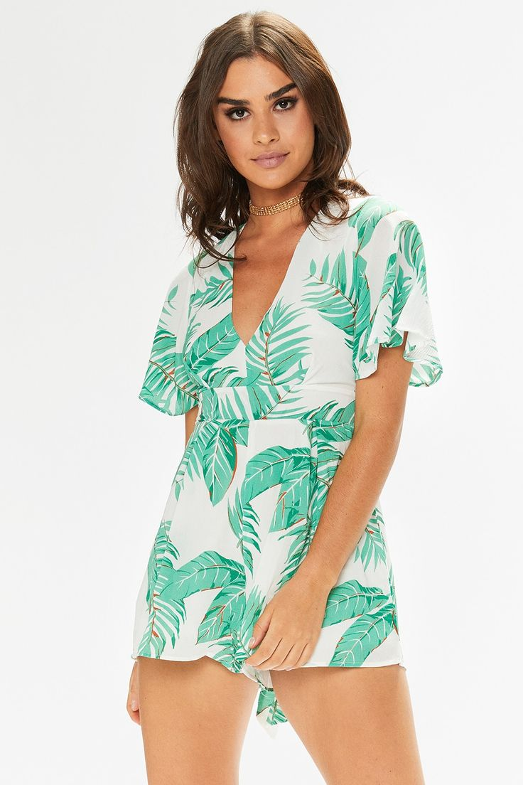 Alex White Tropical Bell Sleeved Playsuit