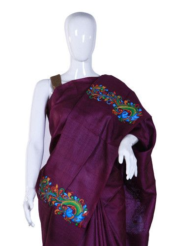 Purple Tussar Silk Saree with Handpainted Mural