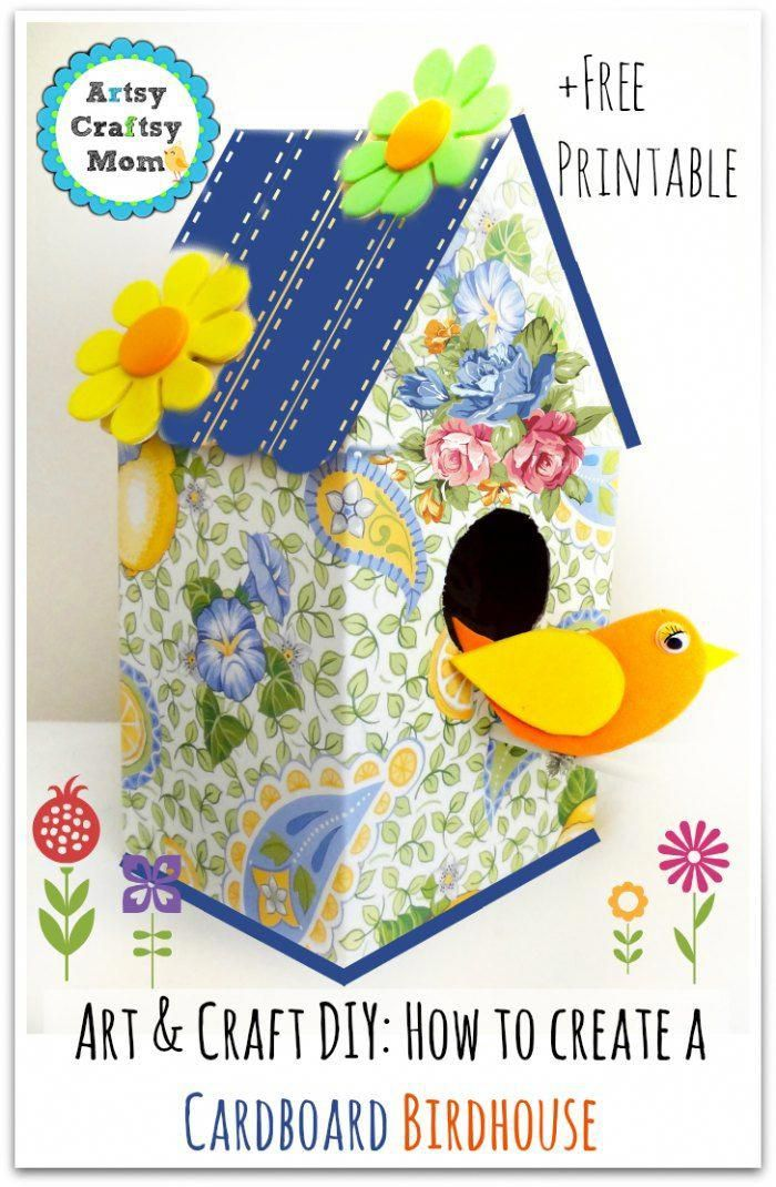 Cardboard birdhouse template and instructions could be a cute.