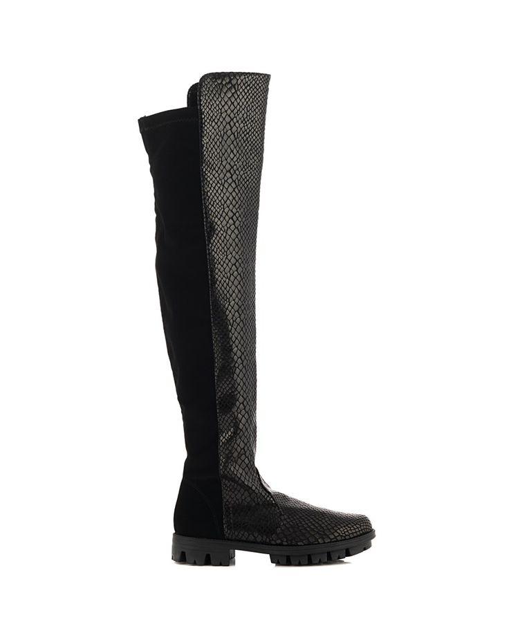NR|RAPISARDI PYTHON CUISSARDES Black python Cuissardes  serrated rubber sole Heel: 3 cm